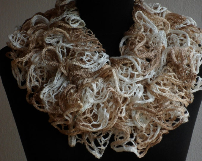 Ruffle scarf, Frilly scarf, Knitted scarf, Beige scarf, Fashion scarf, Mother's Day gift, Spring Accesories, Clearance sale!!! Womens scarf