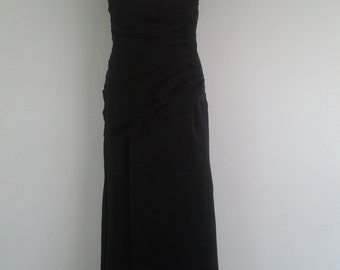 Vintage black evening dress Fitted with beaded flowers to one shoulder Size small UK 8 10