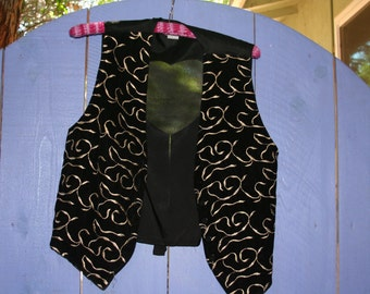 80's Black Velvet Embroidered Vest