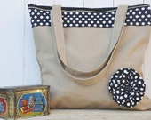 Tote Bag Ginger (lined shopper bag with zipped closure and flower decoration)