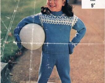 Vintage Knitting Pattern PDF: 1970s Childs Fair Isle Pattern Play Set Instant Download Digital Copy