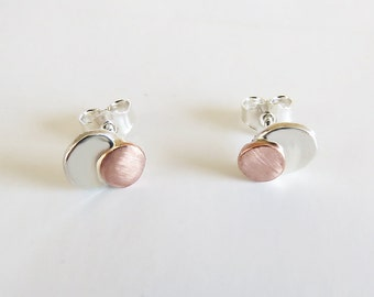 Tiny Stud Earrings, Mixed Metal Stud, Silver & Copper Stud Earrings, 925 Sterling Silver Earrings, Minimalist Studs, Unique Jewelry