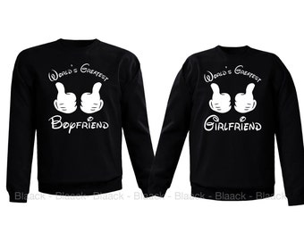 Couple Sweatshirt - World's Greatest Girlfriend & Boyfriend - 2 Couple Matching Love Crewneck Sweatshirts