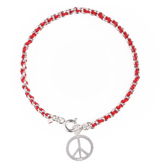 kabbalah thread peace sign bracelet