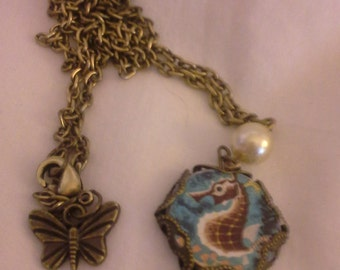 Antique Gold Brass Seahorse Necklace = N107