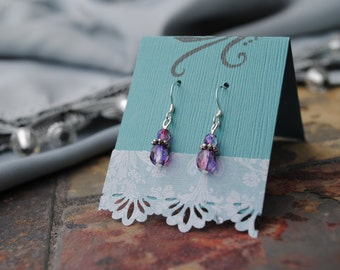Handmade Earrings with Purple & Pink Czech Glass Beading. Sterling Silver Ear Wires
