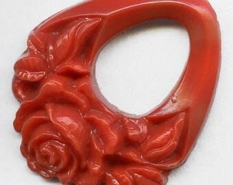 1920s Bohemian molded coral glass pendant. 35x30mm pkg of 1. b11-rd-0791(e)