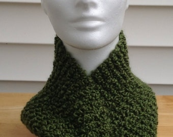 St. Patrick's Day Scarf Green Scarf Holiday Scarf Olive Green Knitted Collar Scarf With Yellow Flower