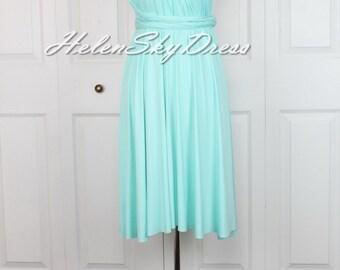 Mint Bridesmaid Dress Infinity Dress Green Knee Length Wrap Convertible Dress