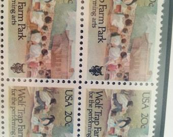 Block of Four Unused 1982 Wold Trap Farm Park US Postage Stamps Scott #2018