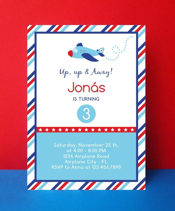 Airplane Birthday Invitation Diy Printable By Vindee On Etsy: Airplane Birthday Invitation Card Editable By PaperPartyDesign