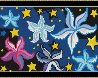 Colorful Stars Cross Stitch Pattern (8048) PDF format for easy printing
