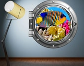 Wall Decal Porthole Full Colour Aquarium Fish Sea Tropical Fish Wall sticker Kids Bedroom Decal Mural Wall Art Stickers WSD98