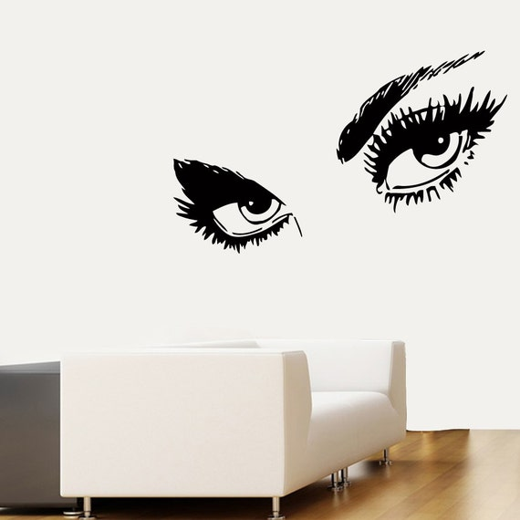 Wall Art Stickers Eyes : Make up wall decals model eyes fashion girl by