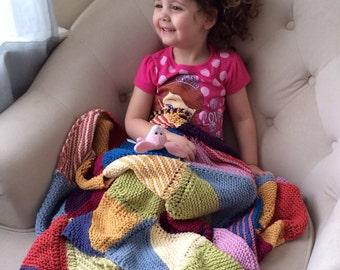 Multicolor Baby Blanket / Knit Toddler Blanket in Patchwork