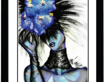 """Fashion Illustration Art Design Portrait """"Blue Orchidia"""""""