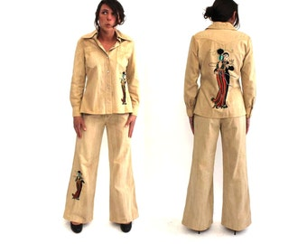 flapper 20s dancers on 60s 1970s 2 piece suit by Dotti Didit, made in Hong Kong . beaded embroidered bell bottoms & snap front jacket, small