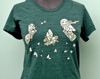 Woodland Owls T-shirt, Campfire Tshirt, Hipster Teen Clothing Tee Shirt, Forest Green