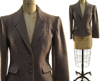 SALE 1970s Wool Blazer / Vintage Taupe & Rose Pink Classic Preppy Tailored Jacket