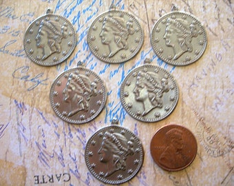 Vintage Silver CHARMS One Cent Coin Goddess Woman and Stars Round Disk Pendants lot of 6