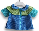 Crochet Baby Sweater. Blue and Green Color Blocked Cardigan. Short Sleeve Infant Cardi. Sundress Topper. Girl 6 to 12 Months