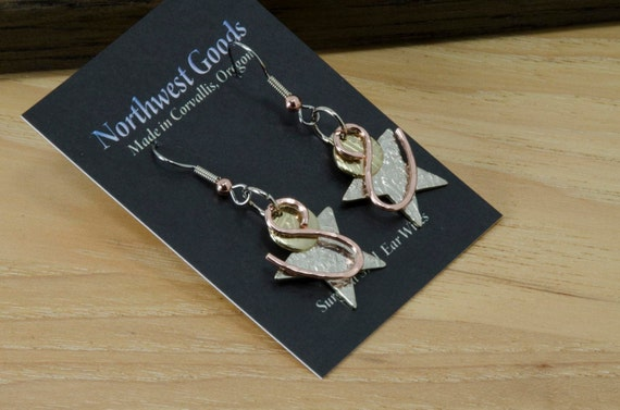 3 piece dangly star earrings, bronze, copper, silver, surgical steel ear wires