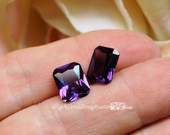 Alexandrite 10x8mm Lab Grown Lab Created Color Change Faceted Octagon Gemstone Jewelry Supply June Birthstone Jewelry Making Supply