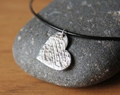Silver Heart Necklace Textured Heart Oxidized Edgy Romantic Rustic Heart Jewelry Handmade Pendant Black Leather Cord Sterling Clasp