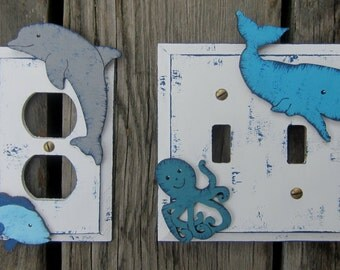 Under The Sea Kids Switch Plate Covers - Hand Painted Wood