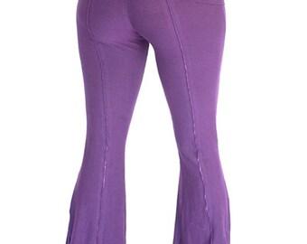 Womens Yoga Pants, fold-over waist, YOGINI FLARES, workout dance pants, maternity clothes