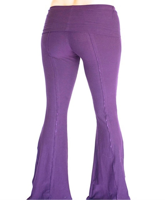 Womens Yoga Pants, fold-over waist, YOGINI FLARES, workout dance pants, maternity clothes