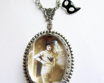Vintage Batgirl Necklace with Mask Charm