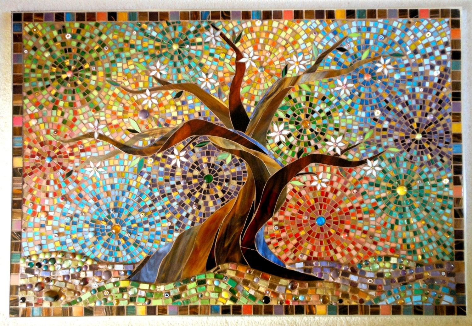 Muliticoloured Tree Of Life Greetings Card Mosaic Art Tree
