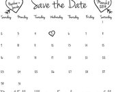 Custom Save the Date Wedding Calendar Stamp Heart and Initials Clear Block