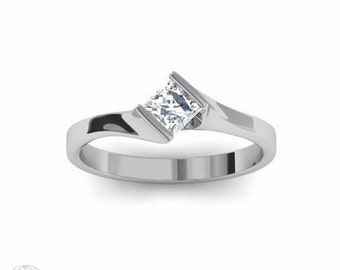 Diamond Engagement Ring Princess Solitaire Bezel Bypass 14K Palladium Conflict Free Diamond Engagement Ring