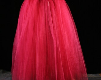Adult tutu tulle skirt Shocking Pink floor length petticoat two layer dance formal wedding bridal prom -You Choose Size- Sisters of the Moon