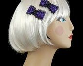 Gothic PinUp Violet Purple and Black Lace Hair Bow Barette Clips FREE SHIPPING