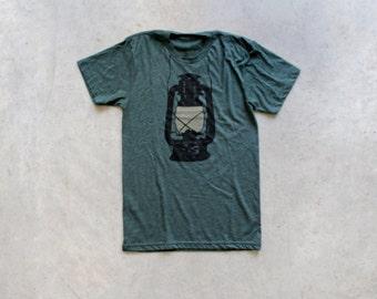 Night Scouting - mens t shirt   tshirt men - kerosene lamp on forest green - gift for him   for men - camping shirt by Blackbird Tees