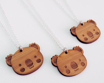 Koala Necklace - Wood Charm Pendant on a Silver Chain
