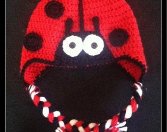 Crochet Ladybug Hat - Choose Size