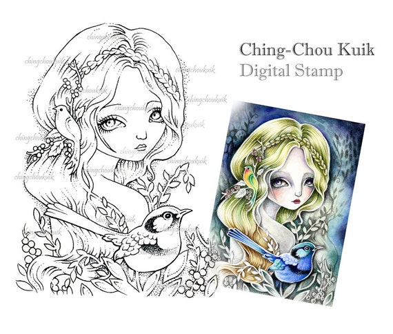 Fee Wren - digitalen Stempel sofort-Download / Kunst von Ching-Chou Kuik