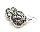 antique silver bohemian quatrefoil earrings