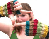 Unisex Preppy Multicolor Striped Fall Fingerless Gloves - Hand Knit