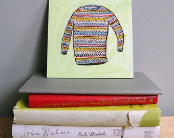 Stripped sweater, painting on board