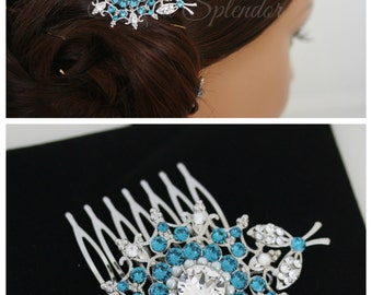 Wedding Hair Comb Teal Blue Crystal Bridal Comb Swarovski Crystal Vintage Wedding Hair Comb Indicolite  KIRRIE