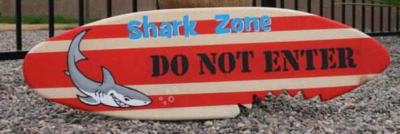 Art mural de mini planche de surf zone de requin ne pas - Planche de surf deco ...