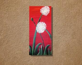 Dandelions on Red acrylic painting original artwork 8 x 16 acrylics