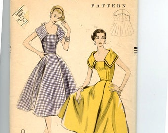 Vintage 1950s Vogue 8572 Dress Pattern Full Skirt Wrapped Front Dress, Sleeveless Princess Seam Bodice with Large Shaped Collar OFF Bust  30