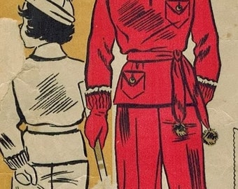 1930s Du Barry 1308B Vintage Sewing Pattern Girls and Boys Snowsuit and Hat Size 6