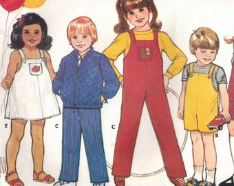 1980s Butterick 6710 UNCUT Vintage Sewing Pattern Child's Jacket, Jumpsuit, Dress, Jumper Size 4 - 5 - 6